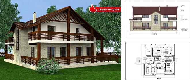 Проекты домов с гаражом и террасой - фото коттеджей до 100